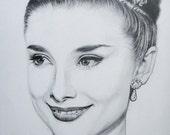 Original Pencil Drawing Art Audrey Hepburn as Princess Anne from Roman Holiday Size 11x14
