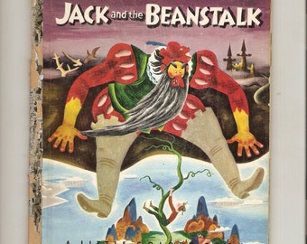 "Vintage Little Golden Book Tenggren's Jack &  the Beanstock ""A"" Ed. 1953 Classic Story"