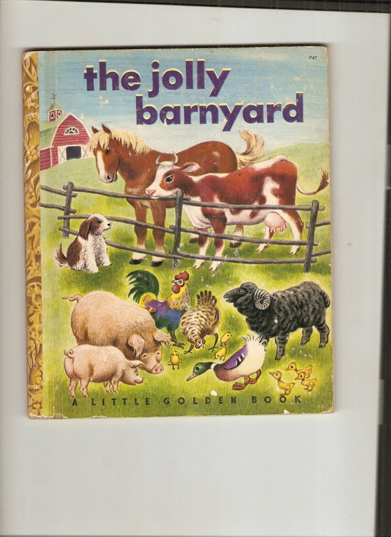 Vintage Little Golden Book The Jolly Barnyard 1950 A Ed S&S Publisher