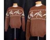Vintage 1940s Weekend On The Dude Ranch Mens Sweater