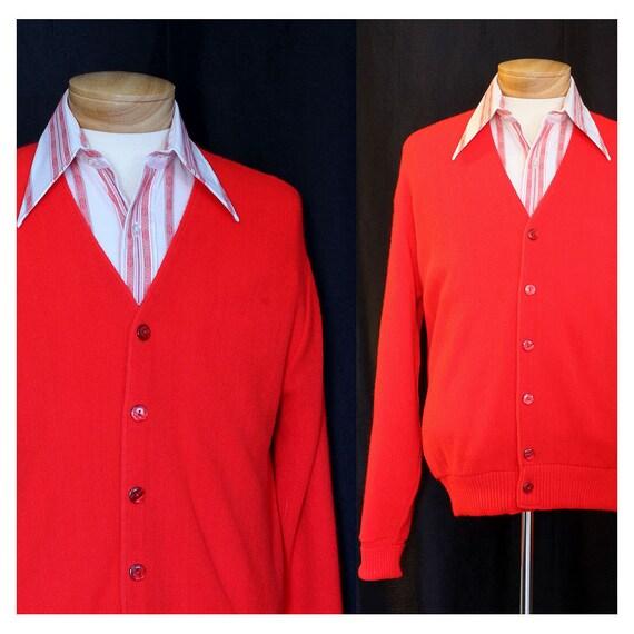 Vintage Atomic Red 50s Mens Cardigan Sweater