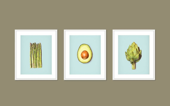 Kitchen Art 3 piece photography set of asparagus avocado and artichoke