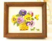 SALE Vintage Framed Embroidery, Small Crewel Flowers, Pansy, Violet