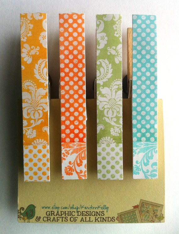 SET OF 4:  Clothespin Magnets, bright spring colors, clip fridge magnets