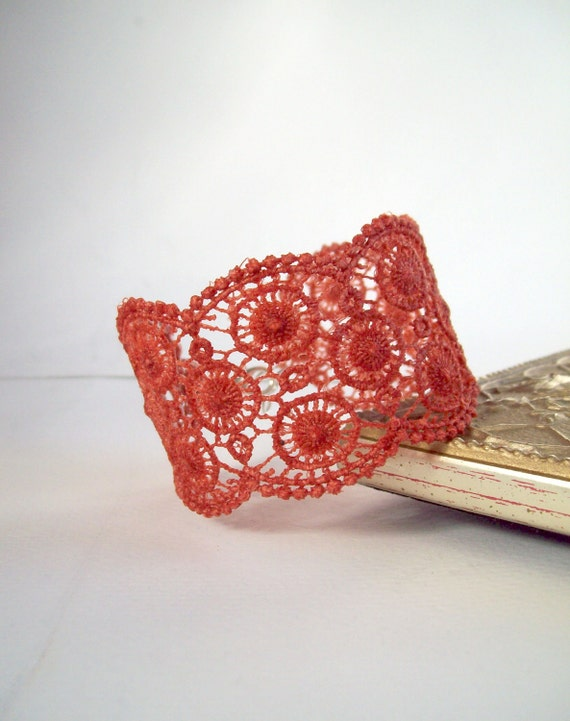 Lace Cuff Bracelet Terracotta- Rust- Antique Orange with Silver Lobster Clasp
