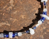 Moonstone Chip, Silver Colored Tube Spacers, Blue & White Glass Seed Bead and Hematite Seed Bead Beaded Necklace
