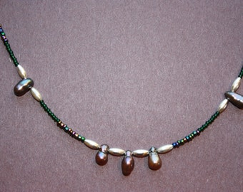Fresh Water Pearls with Silver Colored Spacers and Seed Bead Beaded Necklace (Green & Metallic)