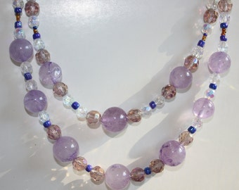 Amethyst, Czech Glass, Glass and Seed Bead Beaded Necklace