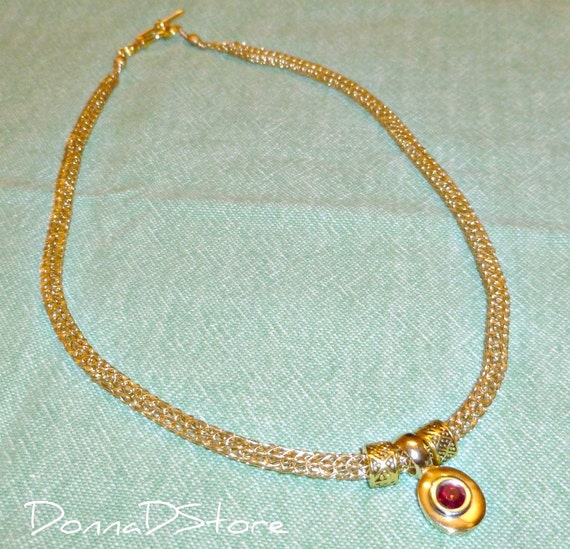Gold Viking Knit chain necklace red vintage pendant