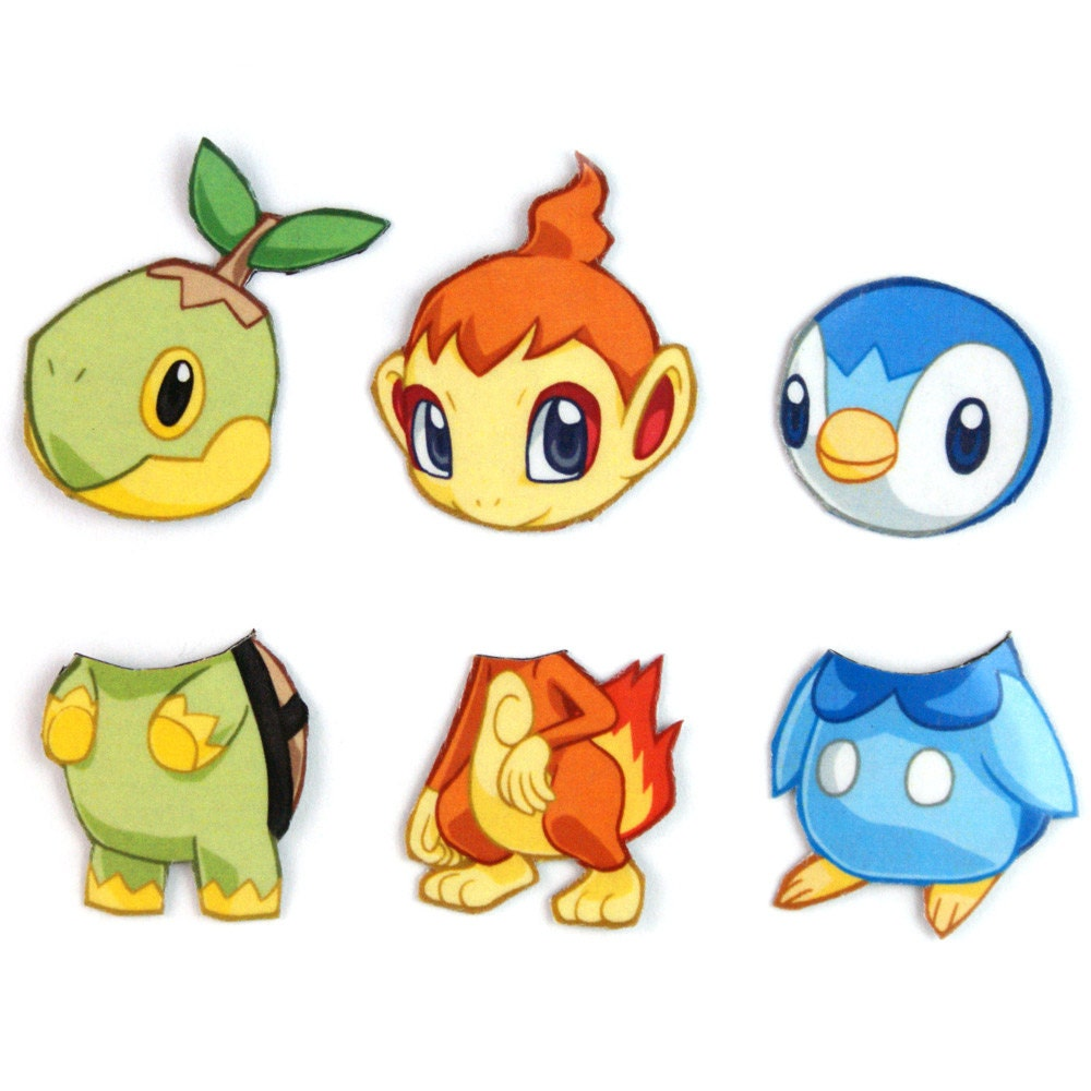 Mix and match magnets turtwig chimchar piplup pokemon - Evolution tiplouf ...