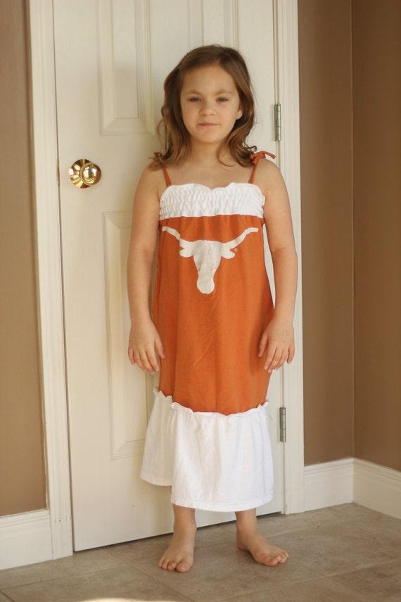 Upcycled Texas Longhorns T-Shirt Dress - Youth Medium/Large