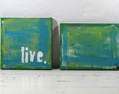 Typographic Art Mixed Media Paintings Green and Blue Set of two