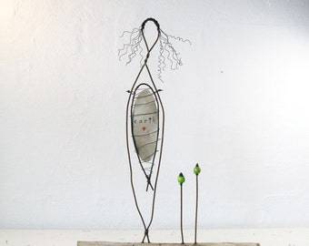 Wire Sculpture Mother Earth Driftwood Art Eco Friendly Mixed Media