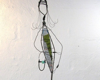 Rustic, Whimsical Wire Sculpture - Reclaimed Wire and Driftwood - Her Name Was Lola - Dress from Recycled Paper