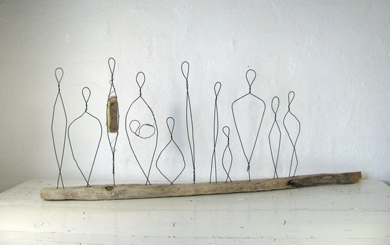 Large Wire Sculpture Titled Love Diversity. Made to Celebrate the Beatutiful Diversity of Humans. Mixed Media on Driftwood.