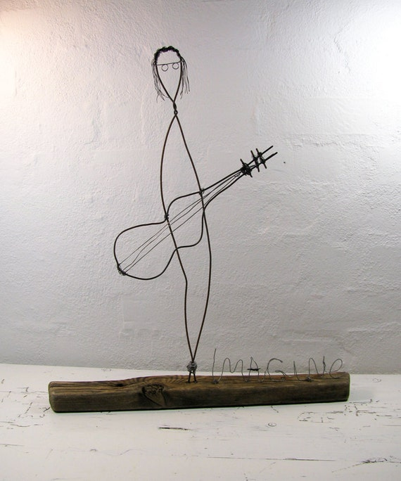 John Lennon Wire Sculpture Titled: Imagine. Mixed Media. Mounted on Driftwood. The Beatles. One of a Kind.