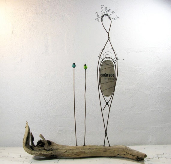 Sculpture Wire on Driftwood  Wire Wrapped Sculpture Rustic Wire Art