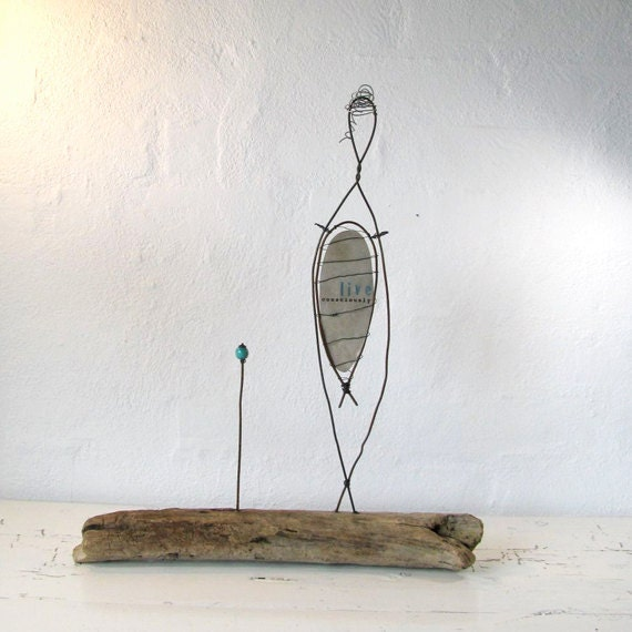 ON SALE...Sculpture of Rustic Wire and Driftwood - Wire Art - Live Consciously - Simple Soul Series