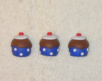 3 Cupcake magnets  -  made from polymer clay