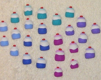 SALE - 25 cupcakes for card making and crafts - made from polymer clay