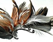 Silver Wire Spiral Ear Cuff with Black, Grey, Brown Feathers