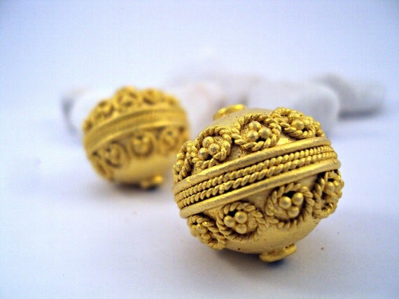 CIJ %15 OFF - Gold Plated Filigree Metal Ball / Bead -20mm,1 piece