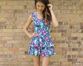 Ultimate 80s Floral Mini Party Dress Blue Small