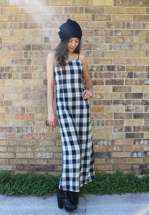 90's Plaid Maxi Dress Grunge