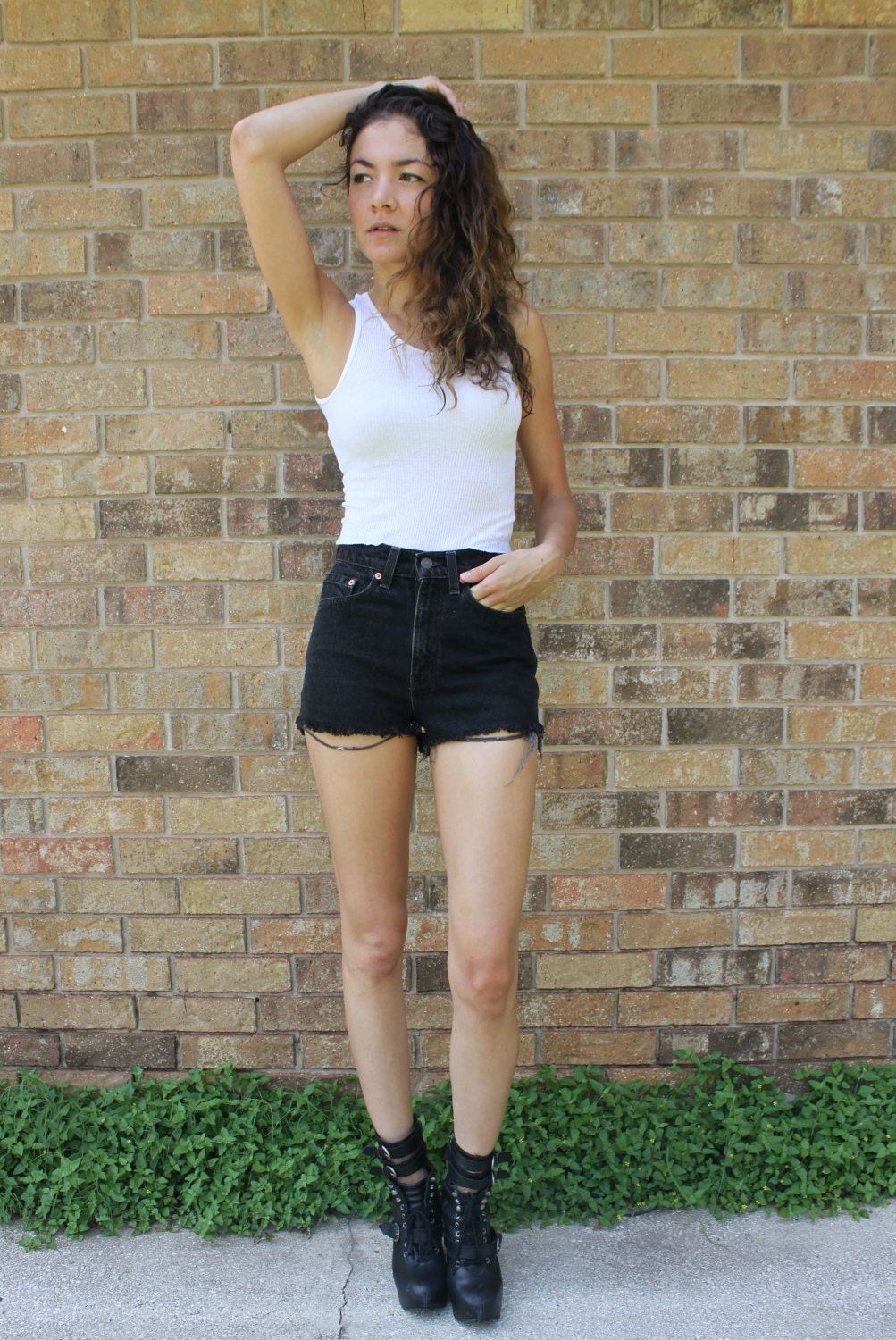 Levi's Black High Waisted Denim Cut Off Jean Shorts XS