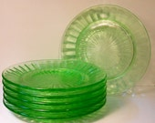 Depression Glass Plates- Green- set of six