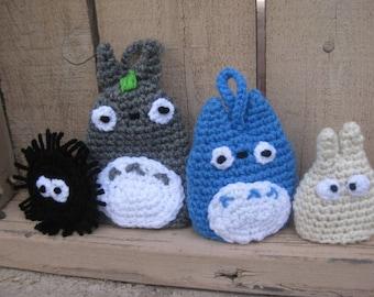 "Crochet Acrylic ""Eco Tawashi"" Dish Scrubbies Totoro family"