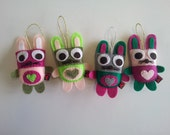 Felt Ornament Bunny Baby Shower Set of 4 Heart Rabbit Party Favors Gifts MADE TO ORDER