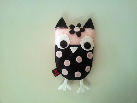Brown Pink Owl ECO FELT Stuffed Plush Softie Birthday Party Nursery Decoration