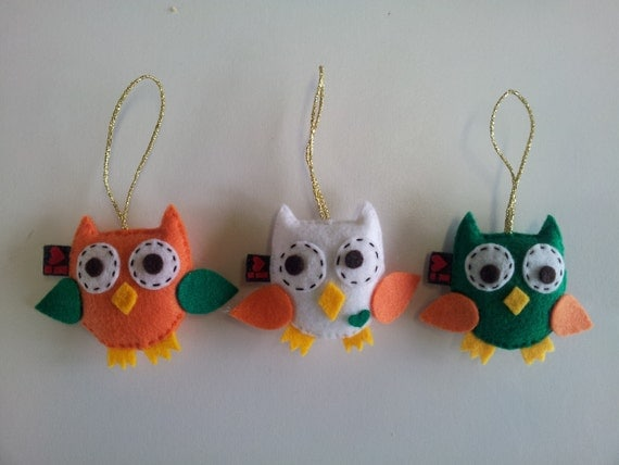 Owl Felt Party Favor Softie Plushie Hanging Ornament Set of 3 MADE TO ORDER