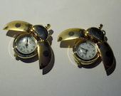 Vintage Gold Tone Lady Bug Shaped Pocket Watch NOS 70A DISCOUNTED