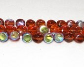 1 strand Amber Electroplated AB twist glass beads, 9mm, approx. 34 pcs.