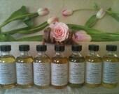 Set of 7 Energy Center (or Chakra) Oils in 2oz glass bottles