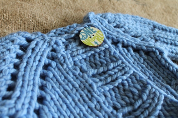 """unisex baby sweater cardigan, hand knit 12 to 18 month size for baby boys and girls, soft blue """"shrug bug"""" (ready to ship today)"""