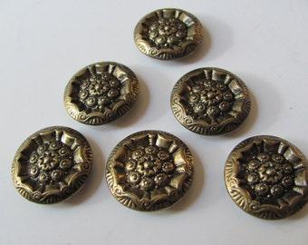 Set of 6 Gold Brass Metal Shank Buttons 22mm