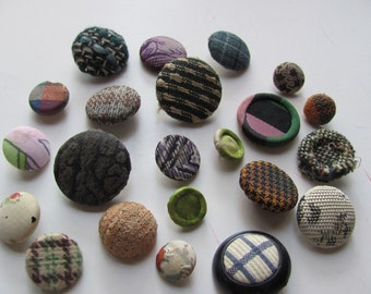 Vintage Lot of 22 Assorted Fabric Cloth Covered Shank Buttons