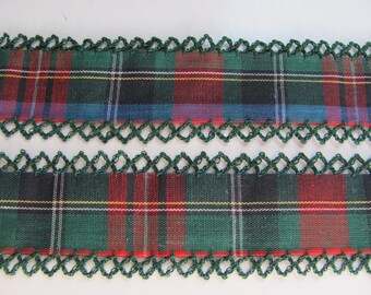 Vintage Fabric Blue Red Plaid Trim  - 1.25 Inch Wide - By the Yard