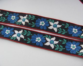 Vintage Fabric Black Blue Floral Calico Trim  - 1 Inch Wide - 3 Yard total