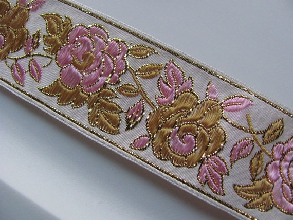 Ivory Pink Gold Metallic Embroidered Woven Floral Trim Edge  - 1.5 Inch Wide - Original Vintage 1970s