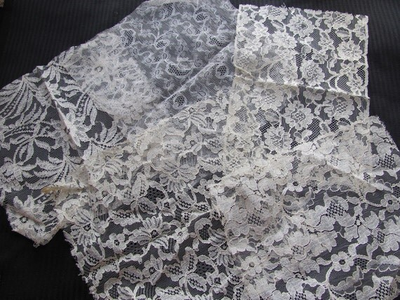 RESERVED FOR SUZY - Vintage Antique White Ivory Lace Pieces - Assorted Designs Patterns - Salesman Samples