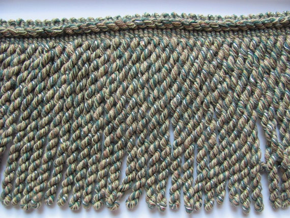 Vintage Heavy Green Fringe Upholstery Trim  - 6 Inch Wide - 1-1/2 Yards Total