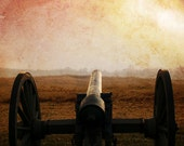 Civil War Photograph, Cannon Red Glow, Antietam Battle Field Historic Fine Art Photo