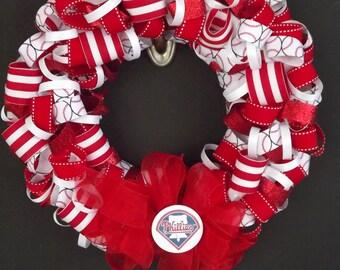 Philadelphia Phillies Ribbon Wreath- Baseball team wreaths