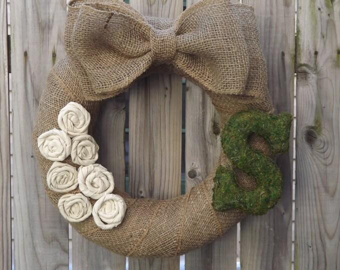 Burlap and Moss Monogram Wreath