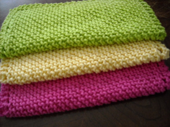 "Dish Cloth - Set of 3 in Cotton - Large - 9"" Square - Hand Knit - Lime Green, Bright Yellow and Hot Pink"