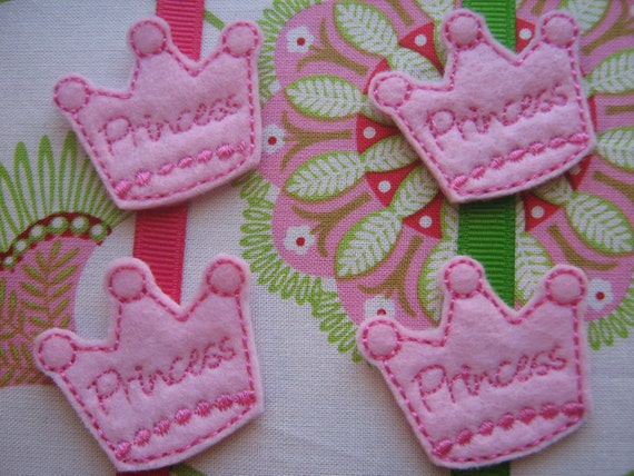 Wholesale Machine Embroidered Princess Crowns - Four (4) Embroidered Felts